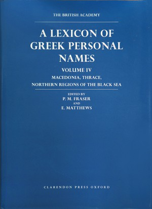 British Academy, front cover of the publication Lexicon of Greek Personal Names.