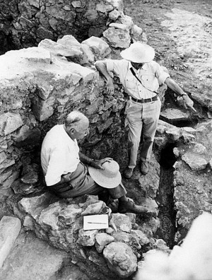 Mycenae, Georgios Mylonas and Spyros Iakovides excavating in the mid-1960s.